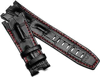 [Richie Strap]腕時計 AP バンド カーフレザー ベルト取付幅28mm オーデマピゲ (黒色+赤糸)