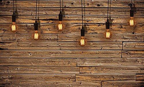 Mural 20136_P-MS, fotobehang, muurschildering wereld-der dromen | gloeilampen op houten planken, imitatie houten planken, muur hout, bruin licht P8 (368cm. x 254cm.) bruin, geel