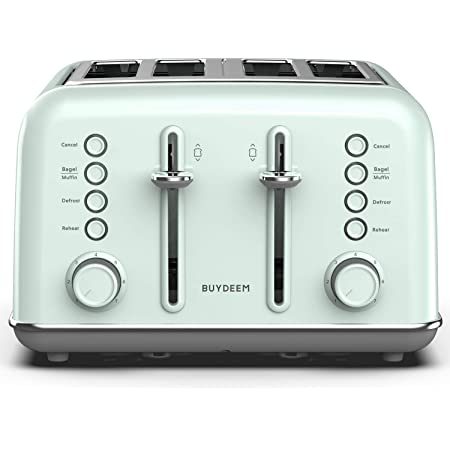 BUYDEEM DT-6B83 4-Slice Toaster, Extra Wide Slots, Retro Stainless Steel with High Lift Lever, Bagel and Muffin Function, Removal Crumb Tray, 7-Shade Settings (Cozy Greenish)
