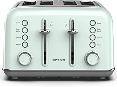 BUYDEEM DT-6B83 4-Slice Toaster, Extra Wide Slots, Retro Stainless Steel with High Lift Lever, Bagel and Muffin Function, Rem