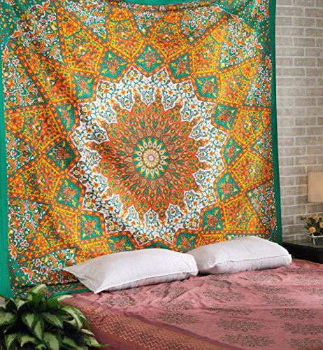 RAJRANG BRINGING RAJASTHAN TO YOU Psychedelic Mandala Tapestry - Star Hippie Bohemian Wall Hanging Tapestries Queen Bedspread Bedding Bed Cover - 90 X 84 Inches