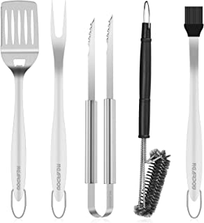 """NEARPOW Heavy Duty BBQ Grill Tools Set, 18"""" Long Handle Grill Utensils Kit, Tongs Spatula Fork Basting Brush Cleaning Brush, Stainless Steel Barbecue Accessories Gift for Men Grilling Cooking Camping"""