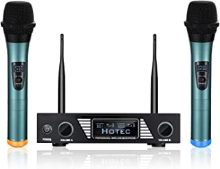 Hotec UHF Wireless Microphone System with Dual Handheld Microphone Over PA, Mixer, Speaker, Karaoke Machine for DJ, Church, Home Entertainment, Karaoke (H-V22)