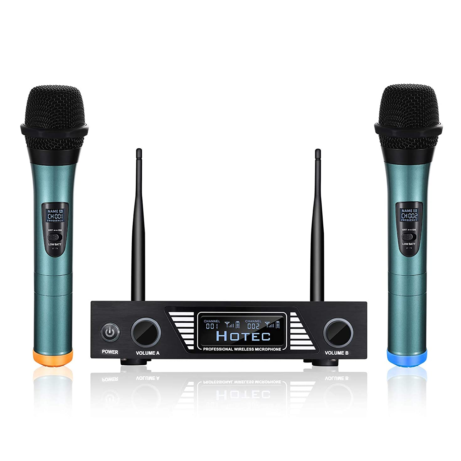 Hotec UHF Wireless Microphone System with LCD Display and Dual Handheld Microphone Over PA, Mixer, Speaker, Karaoke Machine For DJ, Church, Home, Karaoke, Business Meeting