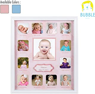Collage Photo Frame for Baby First Year Keepsake, Multi Picture Frames for Baby Newborn 1st Birthday Gift Memory Home Decor Size 11 x 13 x 1 inch with 13 Slots in Pink White Prime Wood
