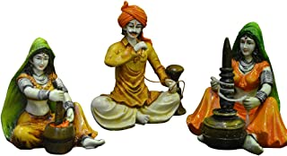 Karigaari India Traditions Of Rajasthani : Man With Hukka & Lady Chaas Mirchi