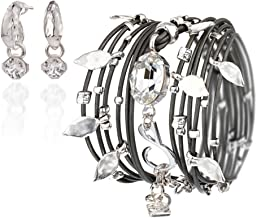 Sea-Smadar Eliasaf Leather Dark Grey Wrap Bracele with Swarovski Crystals Silver Plated Pendants and A Silver Plated Earring Set