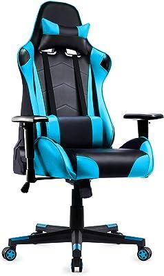 ゲーミングチェア オフィスチェア デスクチェア 椅子 ゲーム用チェア パソコンチェア 135°リクライニング ハイバック 多機能昇降調整 ランバーサポート ひじ掛け ヘッドレスト クッション付き PUレザー 【安心の一年保証】ブルー