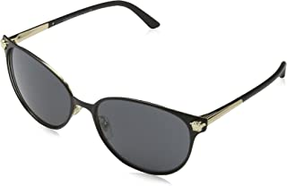 Versace Women's VE2168 Matte Black/Pale Gold/Grey Sunglasses