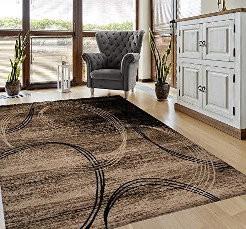 VIMODA Teppich Modern sehr dicht gewebt Kreisel Muster Meliert in Braun Beige, Maße:120x170 cm