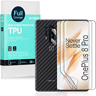 Ibywind Clear TPU Film Screen Protector for OnePlus 8 Pro,[Pack of 2],[Camera Lens Protector][Back Carbon Fiber Film Prote...