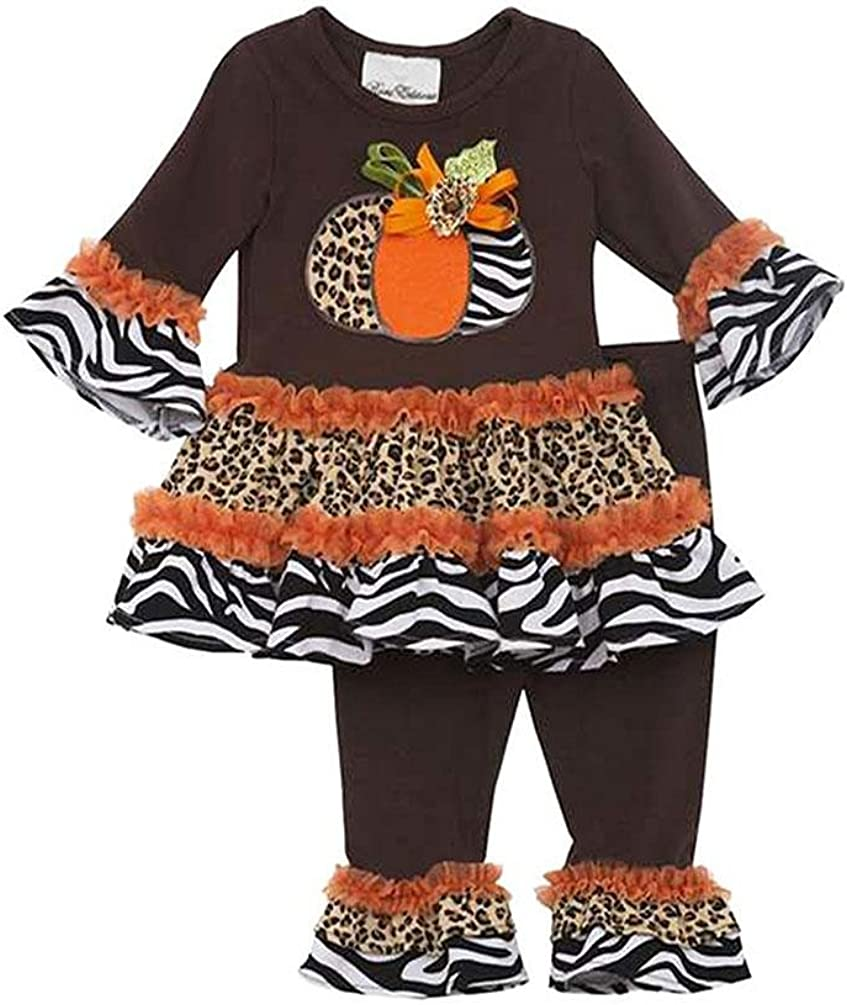 Rare Editions Little Girls' Brown Zebra Leopard Pumpkin Leggings 2-pc Outfit
