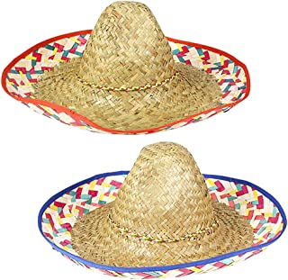Mexican Sombrero Straw Hat Multicolor Braided Fashion, Assorted 22.5