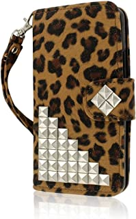 EMPIRE MPERO Samsung Galaxy Mega 5.8 Wallet Case, [Flex Flip] Cover with Card Slots and Wrist Strap (Studded Leopard)