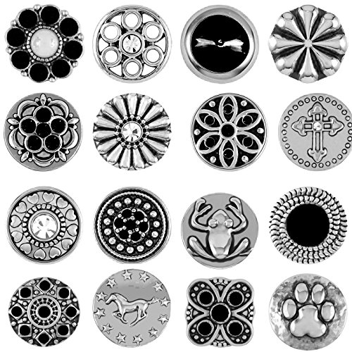 Akkki Mini Small Button Druckknopf 12er Set Knopf Petit Klick Armband kompatibel mit Chunks Silber Farben auswahl Schmuck Schwarz