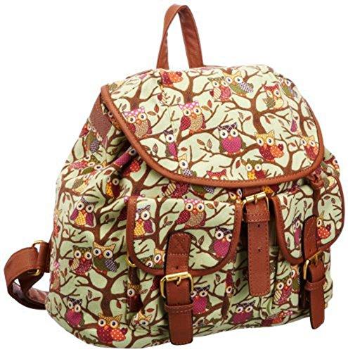 SAMGU Vintage Eulen-Baum drucken Rucksack Multifunktions Schoolbag Backpack Farbe Grün
