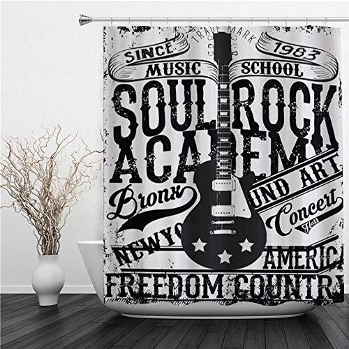 SUHETI Cortinas Ducha,Póster Retro Soul Rock Academy Theme Music School Guitarra eléctrica...