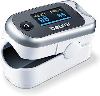 Beurer PO 40 Pulsoximeter, Messung von Sauerstoffsättigung SpO, Herzfrequenz Puls und Perfusions Index PI, schmerzfreie Anwendung, Farbdisplay