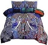 A Nice Night Juego de ropa de cama bohemia con mandala exótico, multielefante, bohemio, juego de edredón