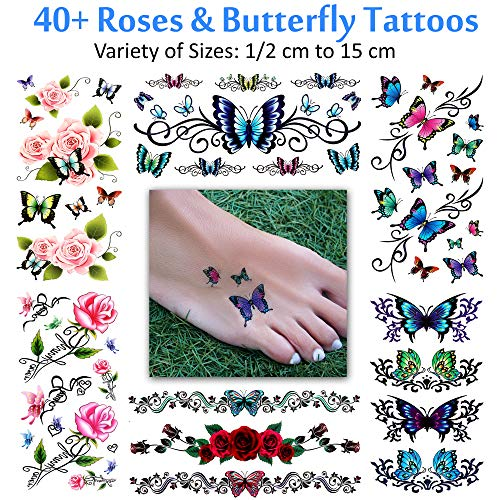 Temporary Tattoos for Women and Girls - Flowers, Roses, Butterflies - Waterproof Fake Tattoos - Halloween Costume Cosplay (40+ Assorted Floral Butterfly Tattoos - 6 Sheets)