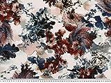 ab 1m: Blumendruck, Viskose in Leinenstruktur,