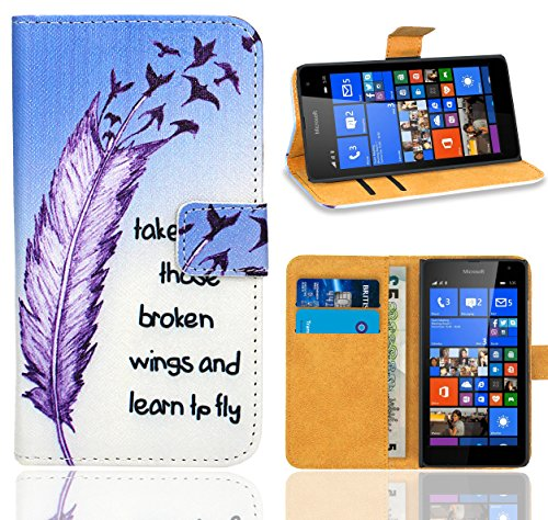 Microsoft Lumia 535 Handy Tasche, FoneExpert® Wallet Hülle Flip Cover Hüllen Etui Ledertasche Lederhülle Premium Schutzhülle für Microsoft Lumia 535 (Pattern 7)