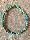 Genuine 4mm Variscite turchese chiaro semi preziosa gemma braccialetto elastico