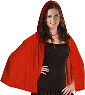 Rimi Hanger Womens Red Velvet Cape Girls Fancy Dress Book Week Party Hooded Cape Accessory 48 Inches