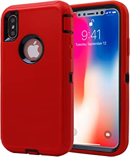 AICase iPhone X Case, 3 in 1 Scratch Resistant, Drop Proof Heavy Duty Soft TPU+ Hard PC Hybrid Truly Shockproof Armor Protective for iPhone X (Red/Black)