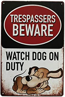 Warning Be Ware of Dogs Safety Metal Tin Sign 8x12 inch Trespassers