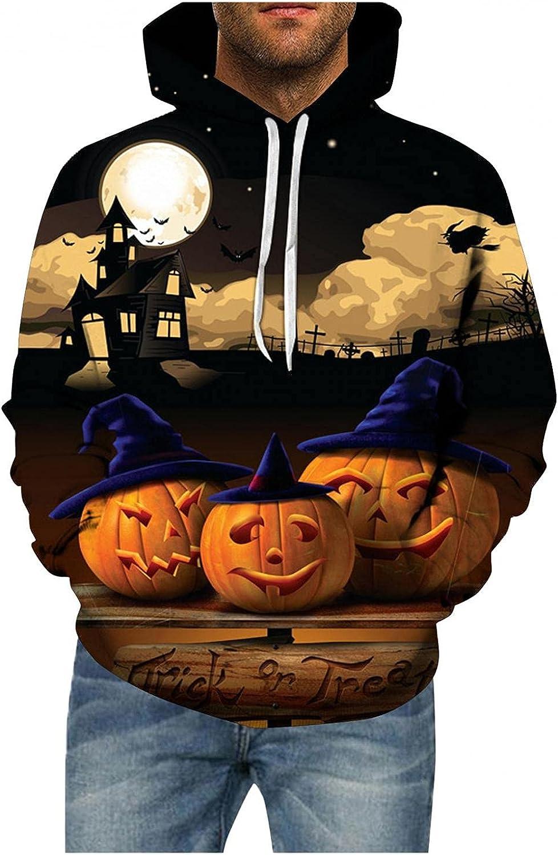 PHSHY Men's Halloween 3D Printed Hoodies Sweatshirts Evil Funny Pumpkin Bat Skull Drawstring Long Sleeve Pullover Tops