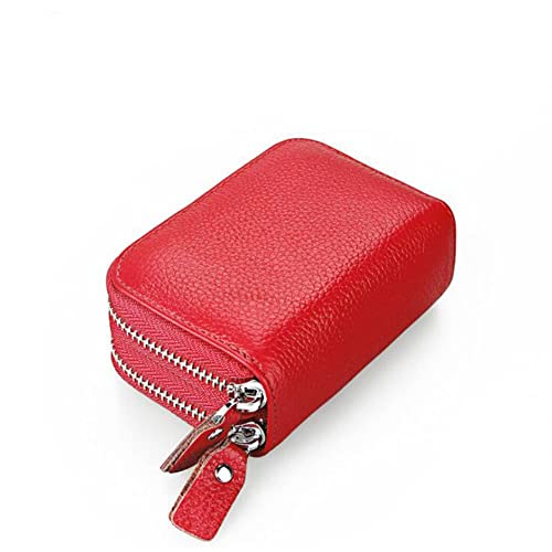 9d1aa2bfc DcSpring RFID Blocking Genuine Leather Wallet Women Credit Card Holder Lady  Coin Purse Double Zipper Wallet