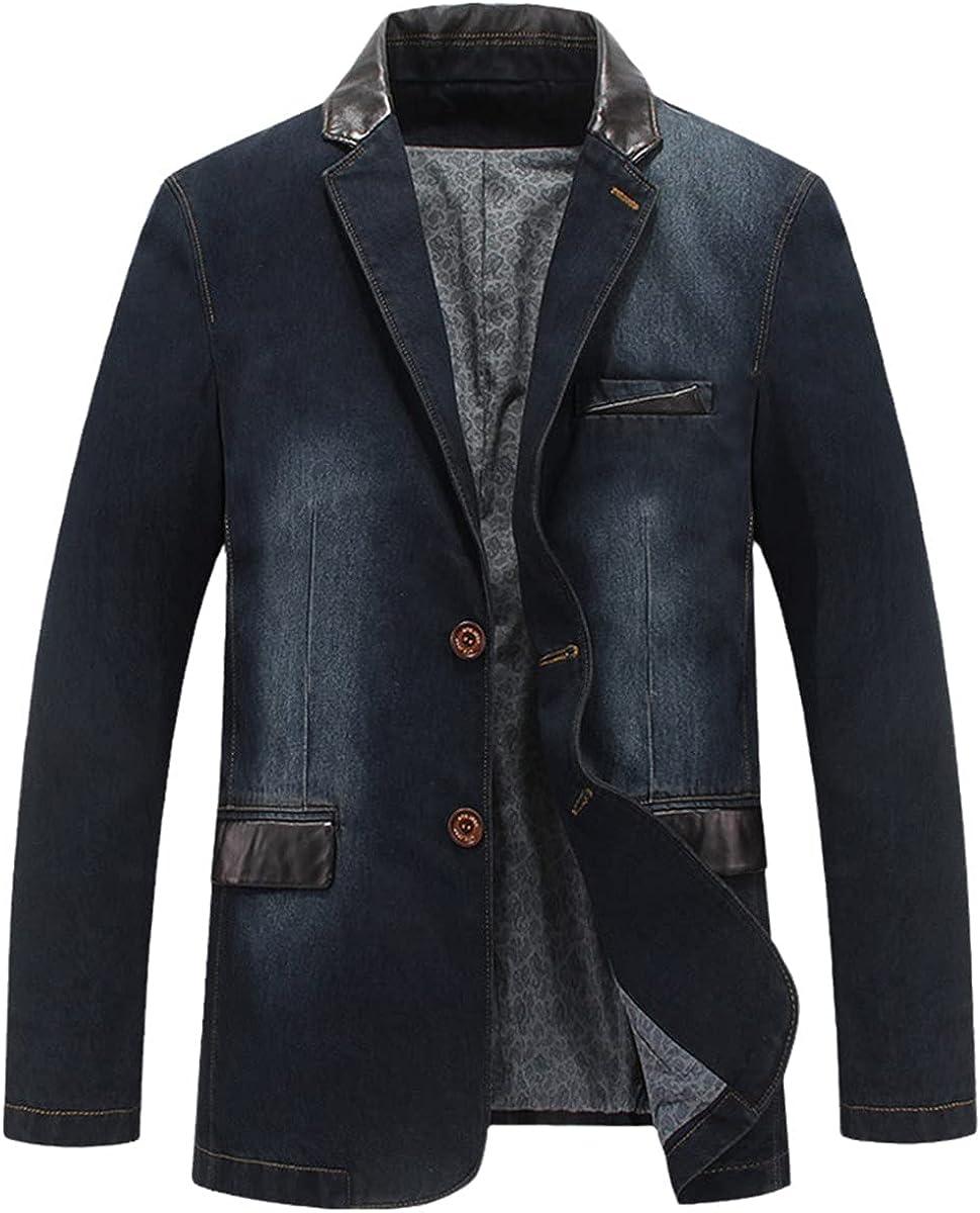 Men's Jacket Denim Jacket Spring and Autumn Suit Blazer Jeans Patchwork Leather Slim Fit Jacket