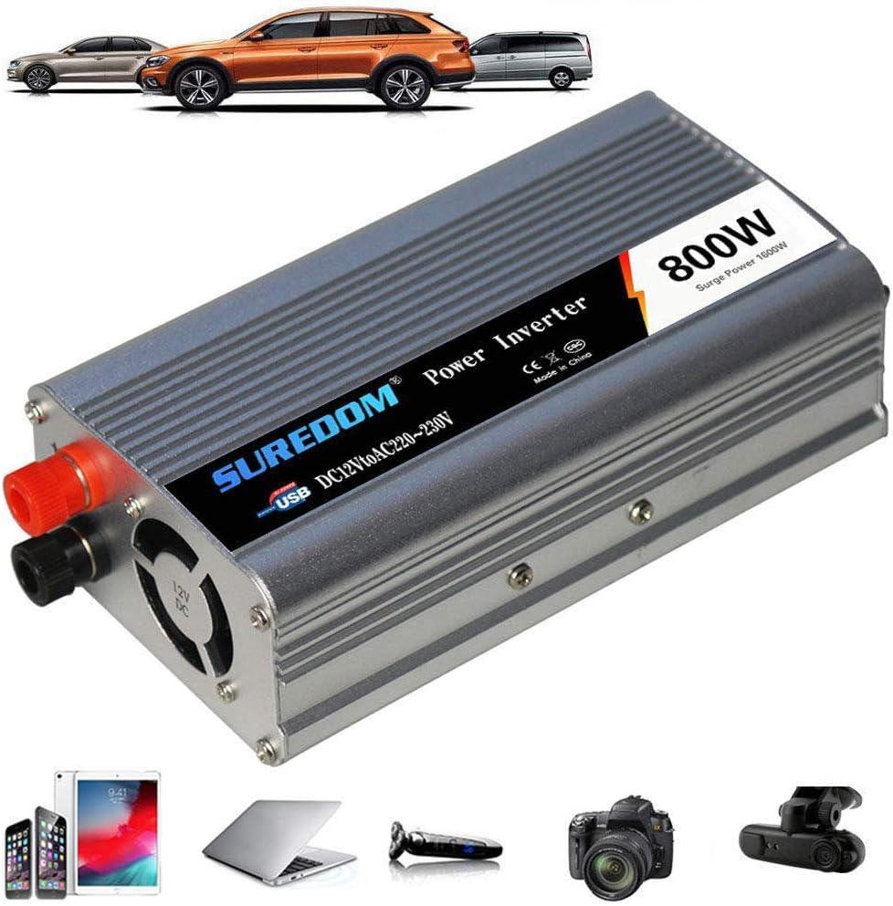 Inversor corriente 800W DC 12V/24V a 110V 220V 230V 240V, Inversor corriente para automóvil con adaptador encendedor cargador automóvil, Convertidor automóvil con salidas universales y puertos carga