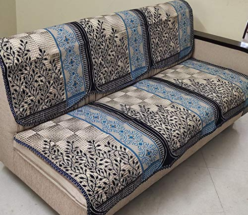 Griiham Cotton and Polyester Floral Premium Contemporary Leaves Design Sofa Cover for 5 Seater Sofa - (3+1+1) AT16 (Blue, Standard)