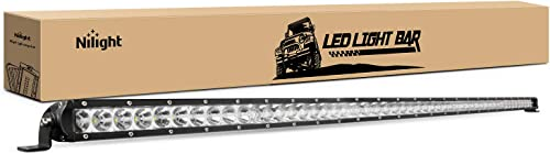 discount Nilight - sale 40007C-A 51Inch 250W Super Slim Spot Flood Combo Bar Driving Fog Single Row Off Road LED Lights-2 Style Mounting high quality Brackets outlet online sale