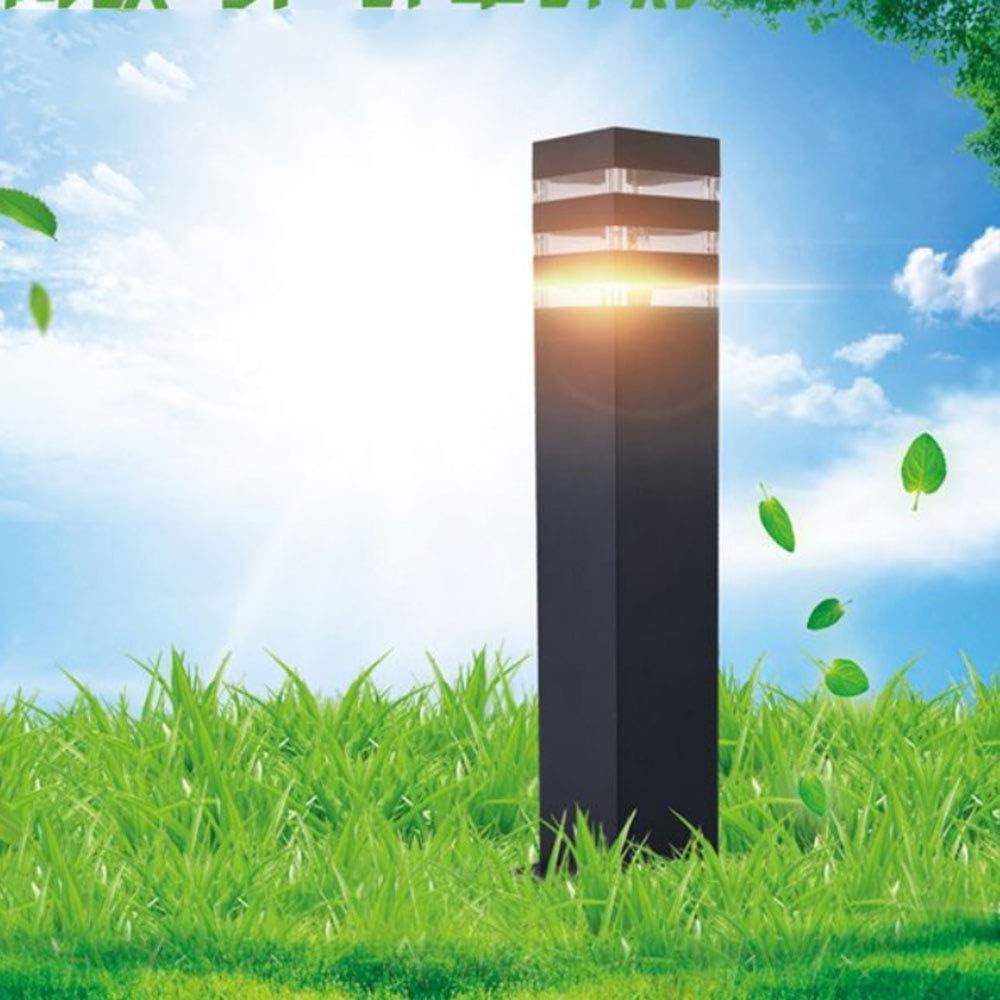 Höhe 40CM Rasenleuchte Säulen-Lampe Außen Wasserdicht Pfadleuchte Schwarz Aluminiumguss Acryl Schatten Außenbeleuchtung Gartenlampe Retro E27 Gartendeko Sockelleuchte Schwarz 40cm