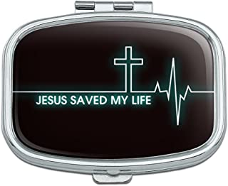Jesus Saved My Life EKG Heart Rate Pulse Religious Christian Rectangle Pill Case Trinket Gift Box