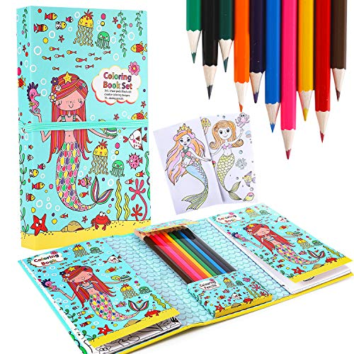 Mermaid Coloring Pads Set for Girls, Mess Free Coloring Activity Notebook, 60 Coloring Pages and 10 Coloring Pencils for Drawing Painting, Birthday Gift for Kids Age 2 3 4 5 6 7 8