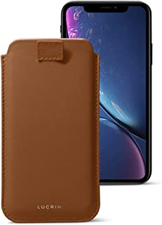 Lucrin - Leather Case with Pull Tab Compatible with iPhone XR and Wireless Charging - Tan - Genuine Leather