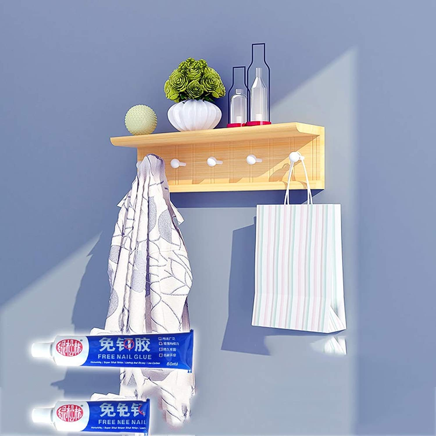 Wall Hat Rack Living Room Simple Wall Hanging Clothes Rack Multifunctional Shelf Household Bedroom Clothes Hanging Rack Wall Hanging (Size   60CM)