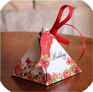 ギフトボックスジュエリーピラミッドキャンディーボックス結婚式の好意ギフトボックスウェディングパーティー好意の装飾100個/ロット、赤