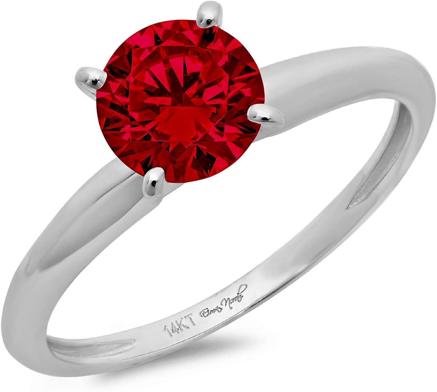 0.4ct Brilliant Round Cut Solitaire Natural Crimson Deep Red Garnet Ideal VVS1 4-Prong Engagement Wedding Bridal Promise Anniversary Ring in Solid 14k white Gold for Women