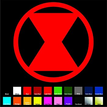 Amazon Com Cove Signs Black Widow Sticker Vinyl Decal Red 4 Marvel Avengers Natasha Romanoff Iron Man Hulk Thor Shield Automotive
