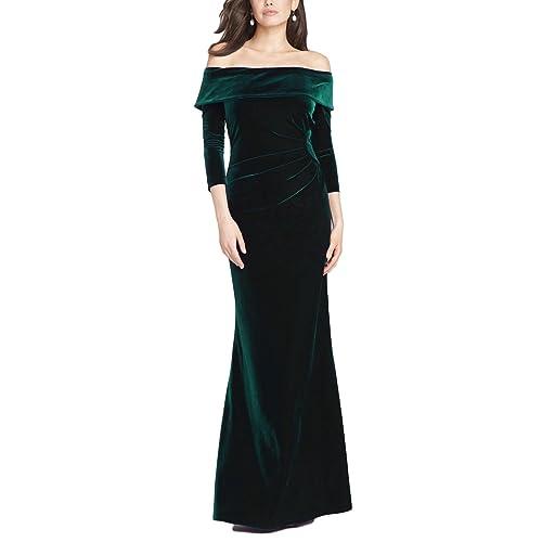 65514a19ec1 DreHouse Women s Velvet Off-The-Shoulder Mermaid Evening Dress Long Prom  Gowns 2018