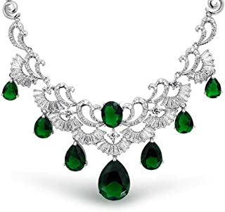 Bling Jewelry Art Deco Style AAA CZ Teardrop Simulated Gemstone Statement Necklace