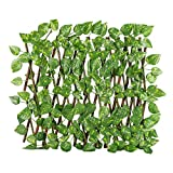 Ausziehbarer Spalierzaun, ausziehbarer Zaun mit künstlichem grünem Blatt, Sichtschutzzaun für Innen- und Außenbereich, Garten, Hinterhof, Grünwände, Dekoration