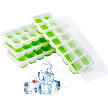 製氷皿 フタ付き アイストレー シリコン 蓋 四角氷 【食品級-FDA認証】氷モールド 製氷器 お茶やお酒用氷が作れる 14個取 取り出しやすい 4点セット グリーン
