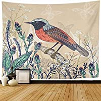 タペストリー壁掛けアートワークの装飾草が咲く花の鳥のテンプレート野生植物ベージュの葉のスケッチ自然自然の装飾タペストリーリビングルームの家の装飾寝室の寮150 * 100CM