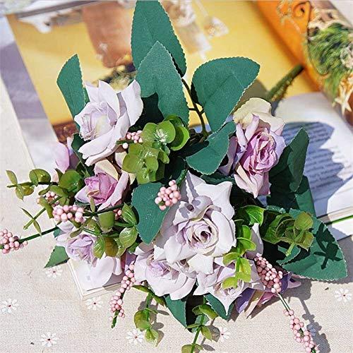 Piante Artificiali Home Wedding Silk Roses Bride Bouquet Accessori Autonoleggio 10 Teste Economici Fiori Artificiali Decorazioni Natalizie (Colore : Light Purple)